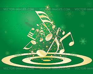 Weihnachtskarte mit Tanne und Noten - Vektor-Skizze