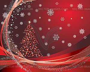 Weihnachtskarte mit Tanne - Stock Vektorgrafik