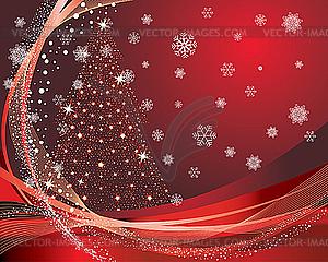 Weihnachtskarte mit Tanne - Vektorabbildung