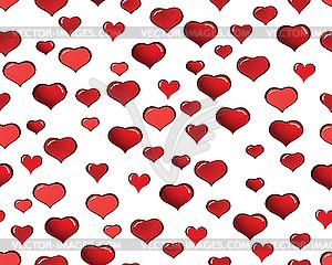 Nahtloser Hintergrund von roten Herzen - Vektor-Clipart