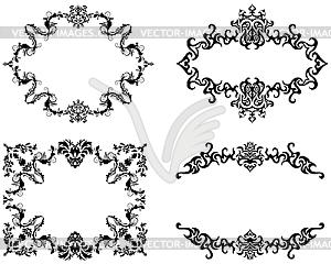 Abstract floral Rahmen Hintergründe im viktorianischen Stil Set - Vektor Clip Art