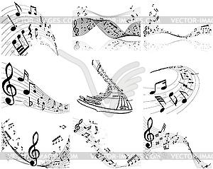 Set von Designs mit Musik-Noten - schwarzweiße Vektorgrafik