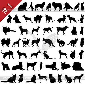 Silhouetten von Hunden und Katzen - Vektor-Clipart / Vektorgrafik