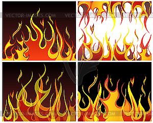 Set von Feuer-Hintergründen - vektorisierte Abbildung