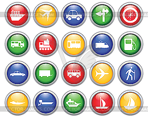 Transport Symbole Set - Stock Vektorgrafik
