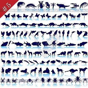 Set von Tier-Silhouetten - Vektorgrafik