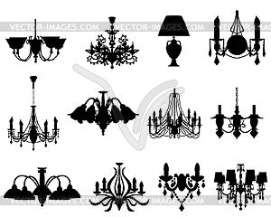 Set von Lampen-Silhouetten - Vektor-Skizze