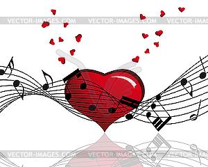 Herz und Musik-Noten - Royalty-Free Vektor-Clipart