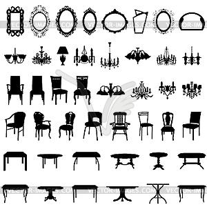 Set von Möbel-Silhouetten - vektorisiertes Clip-Art