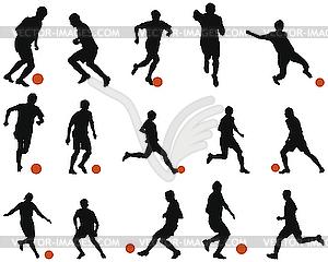 Set von Fußballspieler-Silhouetten - Royalty-Free Clipart