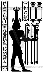 ägyptischen Hieroglyphen und Fresko - Vector-Clipart
