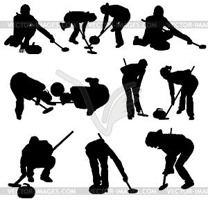 Set von Curling-Silhouetten - Vektor Clip Art