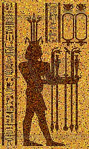 ägyptischen Hieroglyphen und Fresko - Stock Vektorgrafik