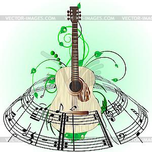 Musikalisches Design mit Gitarre - vektorisiertes Clipart