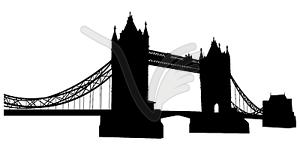 Turm-Brücke - Silhouette - vektorisiertes Clipart