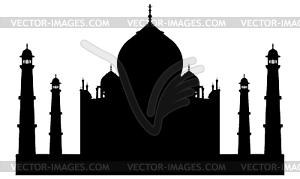 Taj Mahal Tempel Silhouette - Vector-Clipart / Vektorgrafik