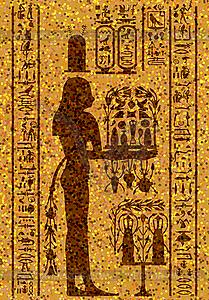 ägyptischen Hieroglyphen und Fresko - Vector-Bild
