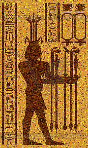 ägyptischen Hieroglyphen und Fresko - Vektorgrafik