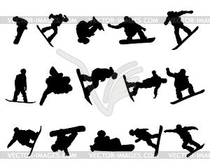 Snowboarde Mann Silhouette Set - Stock-Clipart