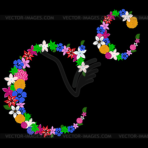Blumen-Brief - Vector-Clipart EPS