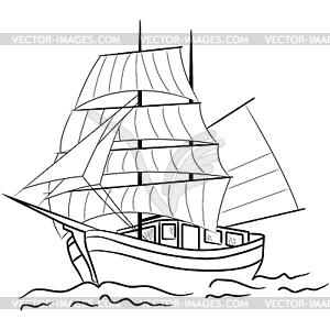 Skizze des nautischen Segelschiff - Vektorgrafik-Design