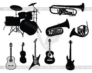 Набор музыкальных инструментов - векторная иллюстрация