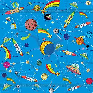 Weltraum-Hintergrund mit Raketen und Planeten - Vector Clip Art