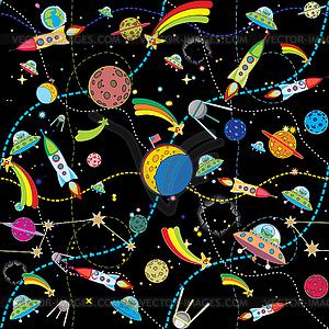Schwarzer Weltraum-Hintergrund mit Raketen und Planeten - Vector-Illustration