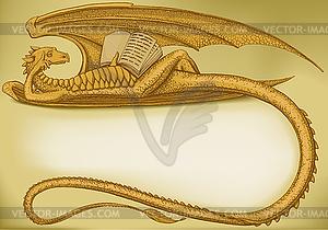 Goldener Drache liest ein Buch - Vektor-Clipart / Vektorgrafik