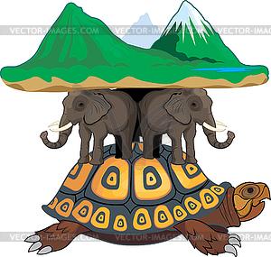 Schildkröte und Elefanten halten die Welt - vektorisiertes Clipart