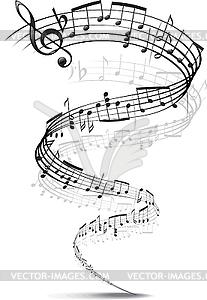 Musik-Noten in eine Spirale verdreht - Vektor-Klipart