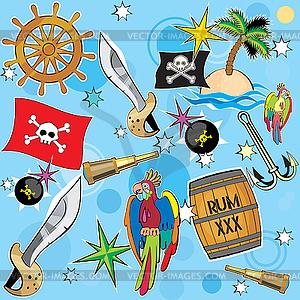 Piraten-Set - vektorisierte Abbildung