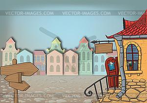 Straße in der Stadt mit Anzeiger und großem Haus - Vector-Design