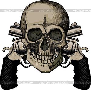 Schädel und zwei gekreuzte Revolver - Vektor-Clipart