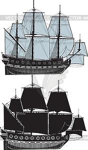 Zwei Segelschiffe - Vektor-Illustration