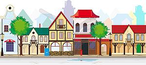 Elegante alte, antike Straße der Kleinstadt - vektorisierte Abbildung