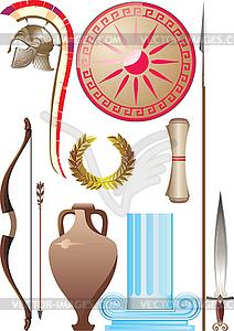 Set des antiken griechischen Kriegers - Royalty-Free Vektor-Clipart