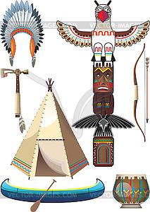 Set von amerikanischen Indianern - Vektor-Clipart
