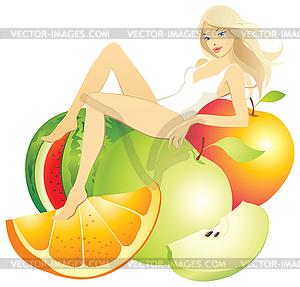 Mädchen im Obst - Vector-Illustration