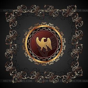 Gold-Jahrgang mit heraldischen Adler - vektorisiertes Clipart