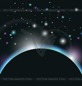 Weltraum-Hintergrund mit Erde und Sonnenaufgang - Vector-Clipart EPS