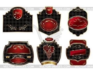 Set schwarz mit Goldrand Etiketten - Clipart-Design
