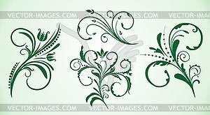 Kollektion von Blumen-Ornamenten - Vector-Clipart EPS