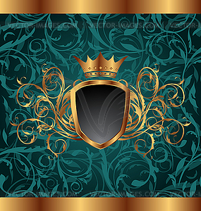 Goldener Vintage-Rahmen mit heraldischen Elementen - Vektor-Clipart EPS