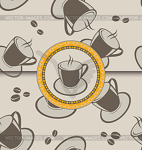 Nahtloser Hintergrund mit Tassen Kaffee für Design - Vektor-Illustration