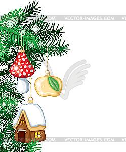 Weihnachtsbaum mit Weihnachtsschmuck - Vektor-Skizze