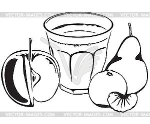 Saft und Obst - vektorisiertes Bild