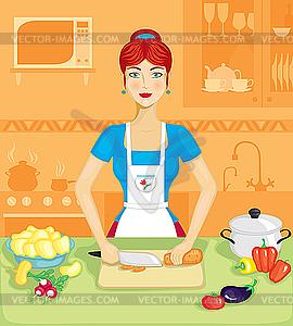 Frau in der Küche - Vektorgrafik