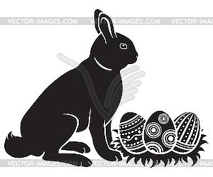 Osterhasen und Eier - Vector-Clipart