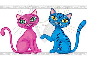 Paar niedliche Kätzchen - Vector-Bild